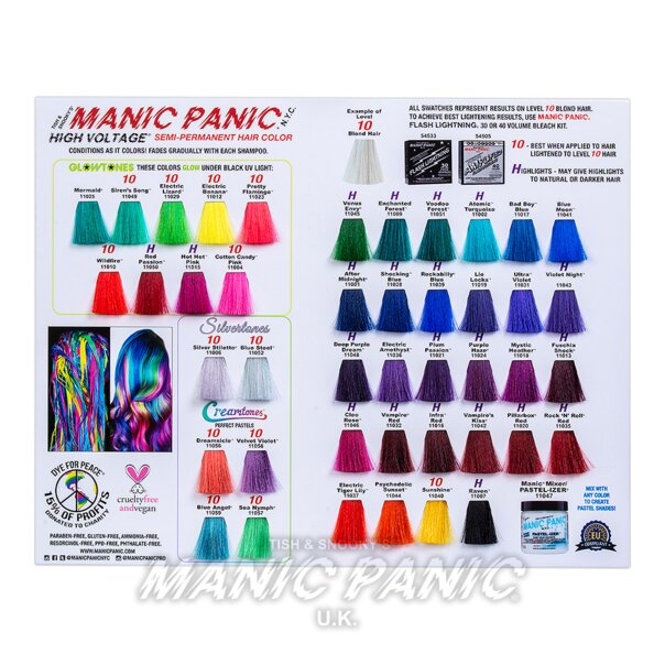 Manic Panic Hair Dye  Colour Swatch Chart